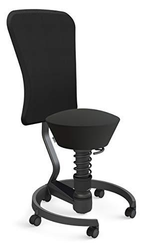 aeris Swopper Work New Edition Ergonomischer Hocker mit Rollen und Lehne – Dynamischer Bürostuhl nach DIN EN 1335 für einen gesunden Rücken – 42-56 cm Sitzhöhe, Federbein Low
