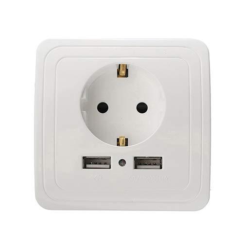 ZUO JIAFAN Smart Home Best Dual USB Port 2400Ma Wall Charger Adapter 16A EU Standard Electrical Plug Socket Power Outlet Panel 110~250V 2000mA EU