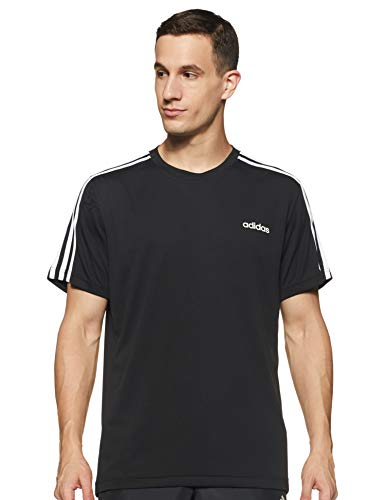 adidas M D2M 3S Tee T-Shirt Homme, Black/White, FR : L (Taille Fabricant : L)
