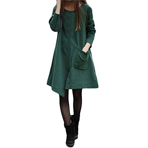 MEIbax Parkas mujer de manga larga gabardina trencas Poncho Chaqueta abrigo capa suelto Vestido de sección Larga Suelta Manga Larga de algodón Puro de Color Puro de Las Mujeres de Color Puro