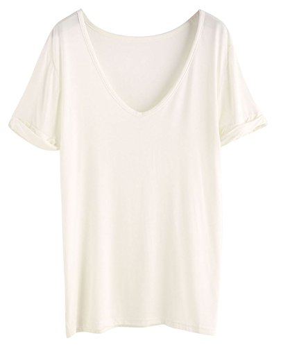 SheIn Women's Summer Short Sleeve Loose Casual Tee T-Shirt Off White/Cream White Large
