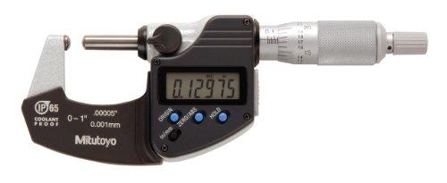 "Mitutoyo 395-371 Digital Spherical Face Micrometer, Inch/Metric, Ratchet Stop, Spherical Anvil/Spindle, 0-1"" (0-25.4mm) Range, 0.00005"" (0.001mm) Resolution, +/-0.0001"" Accuracy, Meets IP65 Specifications"