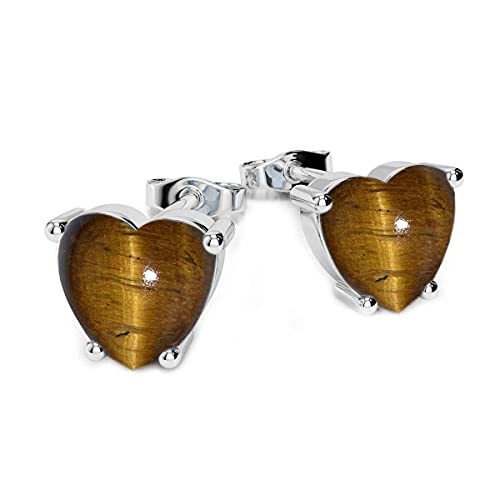 En forma de coraz¢n de plata Gemsonclick tigre natural del ojo 925 joyer¡a Pendientes de piedra natal para las mujeres Las ni¤as de moda, clsico solitario en Post con la parte posterior de fricci¢n