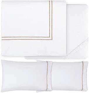 Sferra Grande Hotel Sheet Set - King - White/Taupe