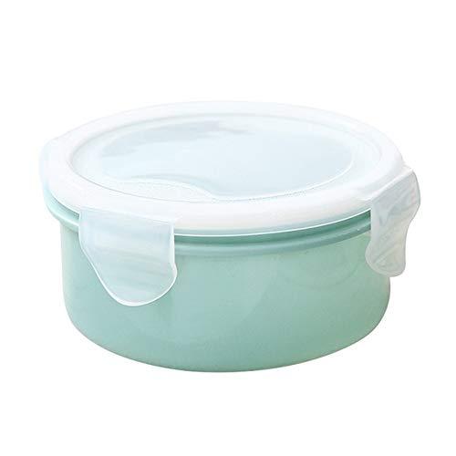 WAN Caja De Almuerzo Pequeña Caja De Almacenamiento De Alimentos Vajilla Redonda De Plástico Caja De Almuerzo De Picnic Portátil Caja De Almuerzo, Azul Claro, 10 Cm * 10 Cm * 5.5 Cm