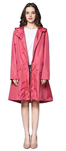 Women's Solid Windbreaker Style Regenjas Womens Classic Look Hooded waterdicht buiten Lightweight Raincoat,E,L