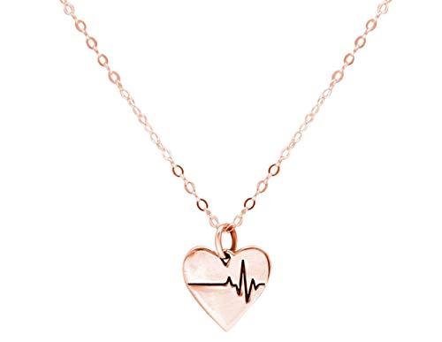 Gemshine Halskette Herzschlag EKG Herzfrequenz für Doktor, Arzt, Krankenschwester, Biologe 925 Silber, vergoldet oder rose. Nachhaltig, qualitätsvoll, Made in Spain, Metall Farbe:Silber rose vergoldet