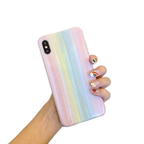 """Cocomii Holographic Rainbow iPhone XR Case, Slim Thin Glossy Soft Flexible TPU Silicone Rubber Gel Shiny Reflective Gradient Fashion Bumper Cover Compatible with Apple iPhone XR 6.1"""" (Rainbow)"""