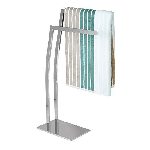 Relaxdays Handtuchhalter WIMEDO eckig H x B x T: ca. 84 x 32 x 20 cm freistehender Handtuchständer mit 2 Handtuchstangen und einem eckigen Standfuß als dekoratives Badaccessoire aus Edelstahl, silber