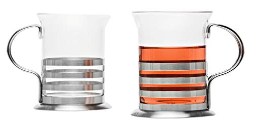 Leonardo Balance Teegläser, 2-er Set, handgefertigt, hitzebeständiges Glas und Edelstahl, 017588