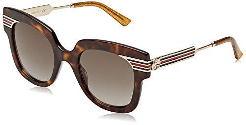 Gucci GG0281S-002 Occhiali da Sole, Marrone (Havana/Dorado), 50.0 Donna