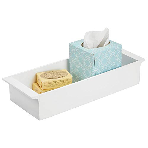 mDesign Deep Bamboo Storage Organizer Tray Bin with Handles Eco-Friendly Multipurpose Use on Bathroom Vanity Countertop Toilet Tank - Stackable 16 Wide - White Wood Finish