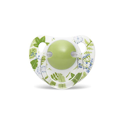 Suavinex 305982 - Chupete para Bebés 0-6 Meses. con Tetina Anatómica de Látex. 0% Bisphenol. Diseño Hojas Verde Botanical