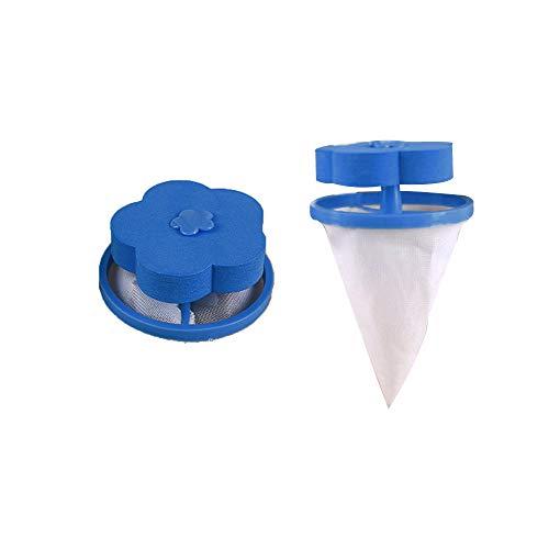 Bluestercool Attrape Poils Machine à Laver, Filet Anti Poil, Filtre à Charpie, Attrapé Poil Lave Linge RéUtilisable Filtre Boule à Linge Nettoyage Outil pour Machine à Laver (2PCS, Bleu)