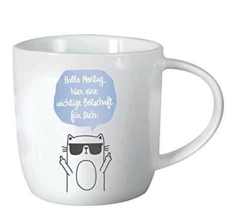 Grafik-Werkstatt 61425 Kaffeetasse mit Spruch 300 ml | Porzellan Tasse lustig | Montag