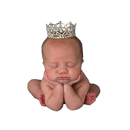 Boomly Neugeborenes Baby Fotografie Requisiten Krone Kristall Kopfbedeckung Stirnband Krone Prinzessin Style Geburtstagshut Baby Haarpflegezubehör (Weiß)