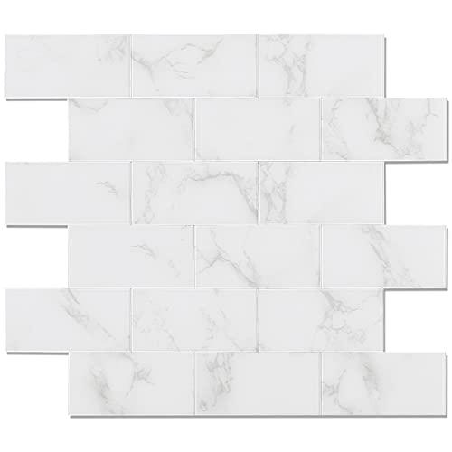 Benice - Adesivi autoadesivi per piastrelle della metropolitana in finto marmorizzato, per bagno, cucina, impermeabile, colore: Bianco