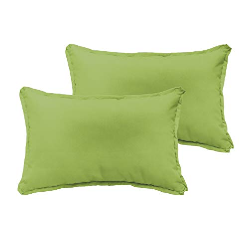 Unknown1 Apple Green 13 X 20-inch Indoor/Outdoor Flange Edge Pillow Set Solid Modern Contemporary Traditional Transitional Polyester Fade Resistant Uv Water