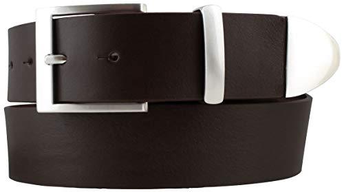 Gürtel aus Vollrindleder mit Spitze/Schlaufe aus Metall 4 cm | Jeans-Gürtel Damen Herren 40mm | Vollleder-Gürtel | Braun 80cm