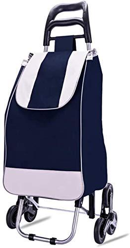 Carro de la compra plegable para escaleras, con 6 ruedas, mochila desmontable, capacidad de carga de 35 kg y 40 L, color azul
