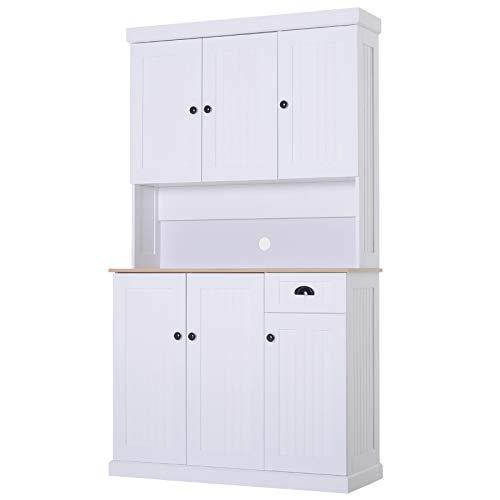 HOMCOM Küchenschrank Sideboard Kommode mit Arbeitsplatte Weiß MDF, Spanplatte 101 x 39 x 180 cm