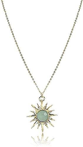 NC96 Collar Moderno Popular Exquisito Collar Colorido Piedra Forma de Sol Colgante para Damas Moderno
