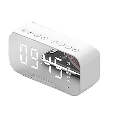 LUHUANONG Espejo de Reloj Despertador multifunción DIRIGIÓ Reloj Despertador Multifunción Inalámbrico Bluetooth Music Player Electronic Digital Reloj de Alarma (Color : White)