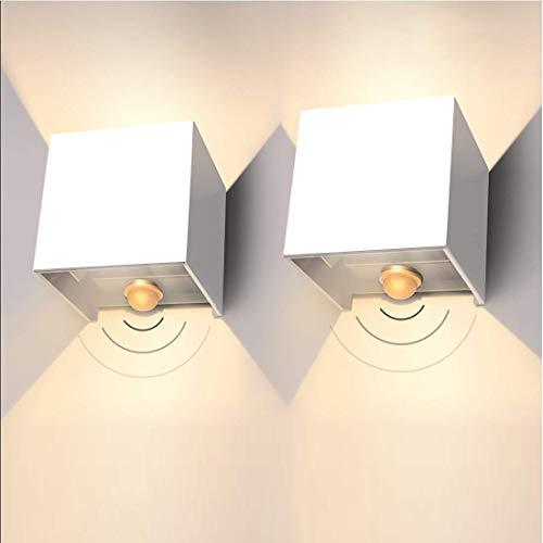 LEDMO 2 * 12W Apliques de Pared Exterior LED con Sensor de Movimiento,3000k blanco cálido apliques pared interior LED 1000lm, Impermeable IP65 Luz Lluminación de Exterior,Blanco (blanco cálido)