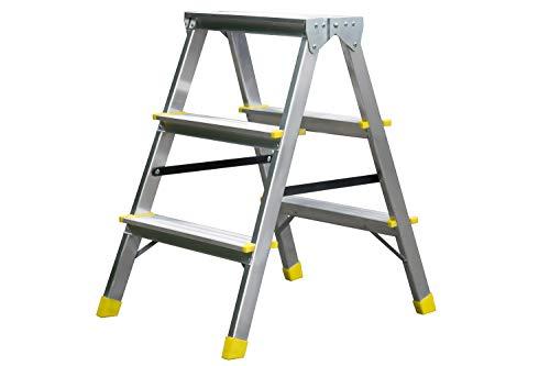 Leiter mit 2x3 Stufen, Trittleiter, Haushaltsleiter, Klappleiter, Rutschfeste Stehleiter, Aluminum - Leiter mit Anti-Rutsch-Füße, Mehrzweckleiter bis 150 kg belastbar mit 3 Sprossen