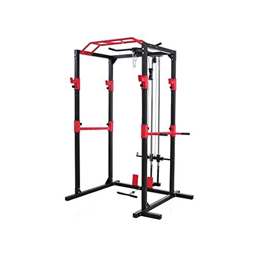 Rack de musculación, estructura de acero sólido, juego de rack de fitness, con 2 focos, barra de dominadas, soporte para dip, poleas y remo, para principiantes y avanzados (negro/rojo) (Gris / Rojo)