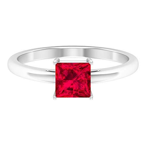 Anillo solitario de rubí de 1 quilate, anillo de compromiso de corte princesa de 5,5 mm, anillo de vástago cónico, anillo de boda de oro macizo, 18K Oro blanco, Size:EU 52