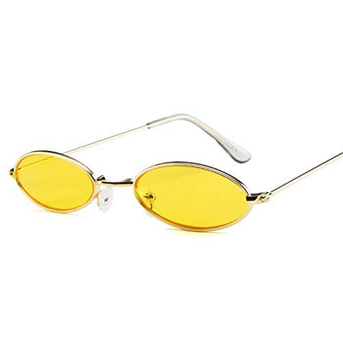 Gafas de Sol Sunglasses Moda Cool Small Oval Metal Vector Style Gafas De Sol Mujeres Hombres Street Snap Diseño De Marca Gafas De Sol C5Yellow