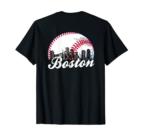 Retro Boston Baseball Cityscape (on back) T-Shirt
