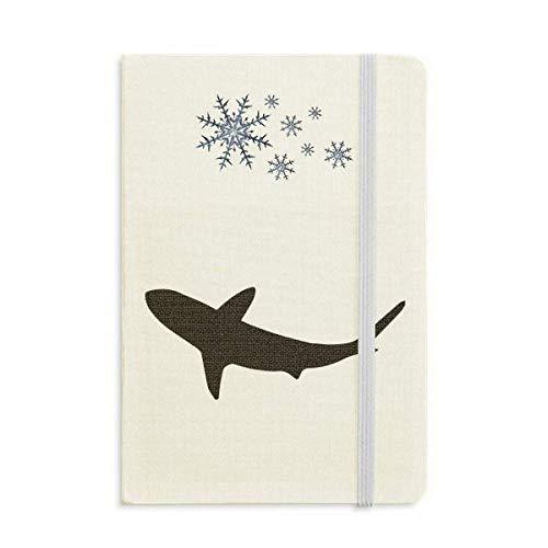 Outline Ocean Shark - Cuaderno de peces feroces (grueso), diseño de copos de nieve