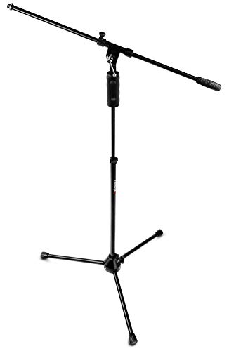 Audibax Pie de Micrófono | Standmic Ayra | Soporte para Micrófono Estilo Jirafa | Altura Ajustable Con Pulsador | Fácil de Transportar | Para Presentaciones Artísticas o Uso en Estudio