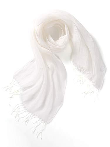 prettystern Sciarpa Lino Tinta Unita Unisex 100% Lino Foulard in Lino Uomo e Donna Primavera Estate Con Frange T10 Bianco