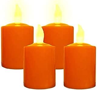 Pumpkin Color Flickering LED Votives, Set of 4