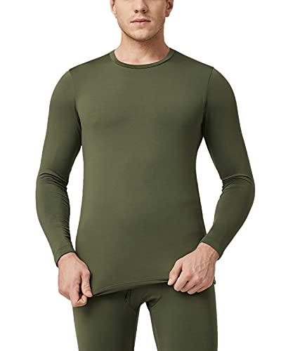 LAPASA Camiseta Térmica Ligera Manga Larga para Hombre Pack de 2 -Brushed Back Fabric Technique- M09 (S, M09-LIGERO: Verde Oliva X2)