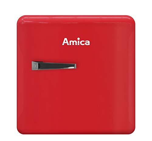 Amica KBR 331 100 R Mini-Kühlschrank 2 Tür- und Glasablagen Retro rot