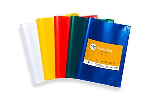 perfect line 25 Heft-Hüllen DIN-A4 farbig & transparent, Heft-Umschlag flexibel, abwischbar & bunt, Buch-Schoner mit Einband, Schutz-Hülle für Arbeit in 5 Farben, Umschläge für Schul-Hefte