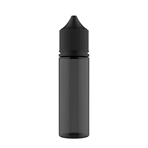 Chubby Gorilla V3 50ml PET Einhorn Plastikflaschen für E-Liquid - Leere Tropfflaschen - 5X 50ml (transparente Schwarze Flasche mit schwarzem Deckel)