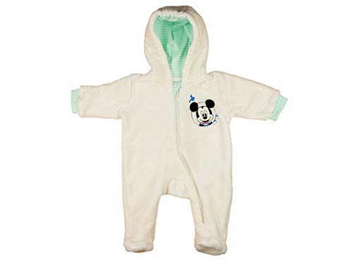 Disney Mickey Mouse Kuschel-Overall Fleece-Overall für Baby Junge Overall mit Kapuze WARM Gr. 56 62 68 74 80, bestricktem Muster für Herbst und Winter, Strampler-Overall Größe 56