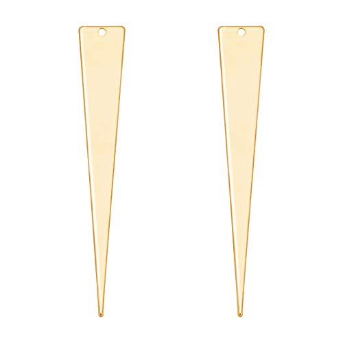 BENECREAT 20 PCS Abalorios Chapado en Oro 18K Triangulares Dorados Colgante de Latón (51x8x1 mm) para Pendientes, Pulsera, Collar, Fabricación de Joyas