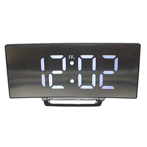PETSOLA Digitaler Wecker Lautlos LED Digitalwecker Spiegelwecker Tischwecker Tischuhr - Weiß