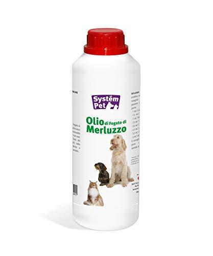 Olio di FEGATO di MERLUZZO per Cuccioli Cani e Gatti in Gravidanza System Pet tecnozoo FLACONE da 1 LITRO