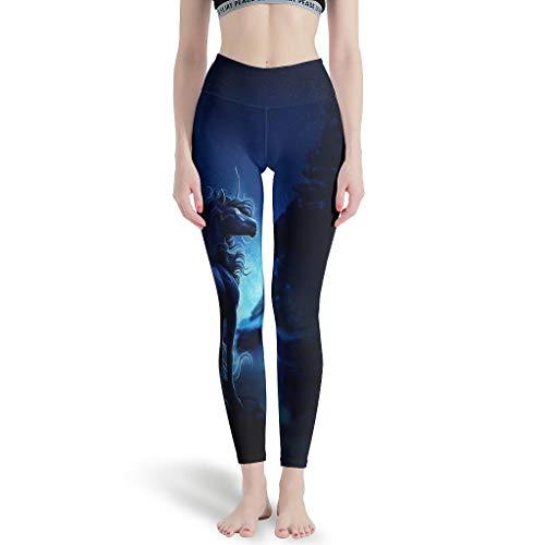 Leggings de mujer Fantasy caballo unicornio azul noche gráficos divertidos claros pantalones de yoga polainas de entrenamiento semanal para deporte blanco XXXXL