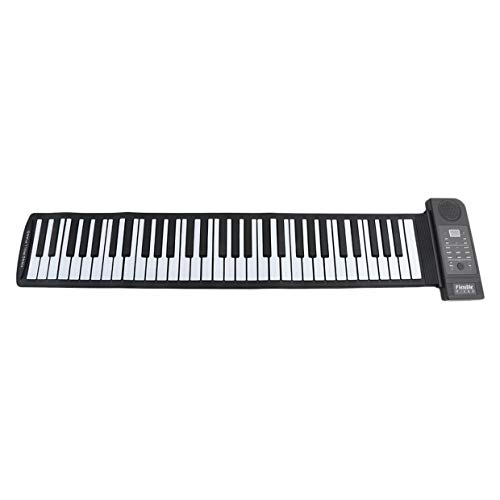 Tragbare flexible elektronische Roll-Up-Klaviertastatur Multifunktionales Silikon-Falt-Handrollpiano - Schwarzweiß