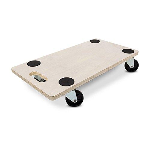 Relaxdays Transportroller HBT: 11 x 58 x 30 cm Transportbrett aus Holz mit praktischem Griff Tansporthilfe als Möbelroller und Transportwagen mit Lenkungsrollen Rollbrett bis 200 kg belastbar, natur thumbnail
