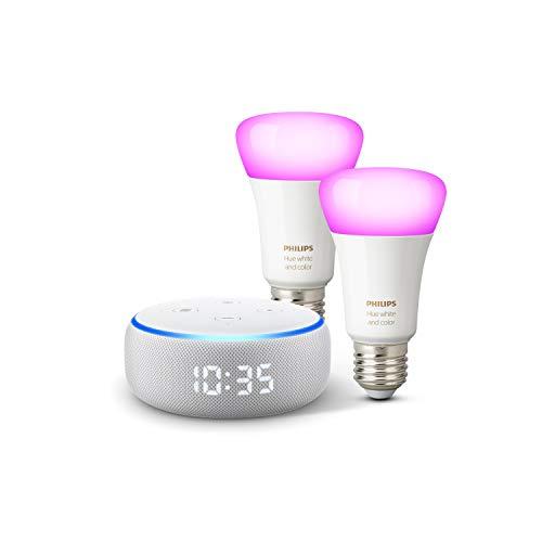 Echo Dot - Altoparlante intelligente con orologio e Alexa + Lampadine intelligenti a LED Philips Hue Color, confezione da 2 lampadine, compatibili con Bluetooth e Zigbee (non è necessario un hub)