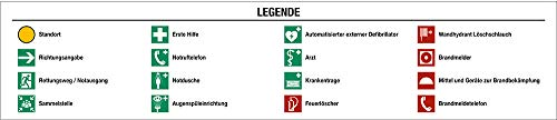 Legende für Fluchtwegplan Folie 12,5x58cm Symbole gemäß ASRA1.3 BGVA8 DIN 4844-2